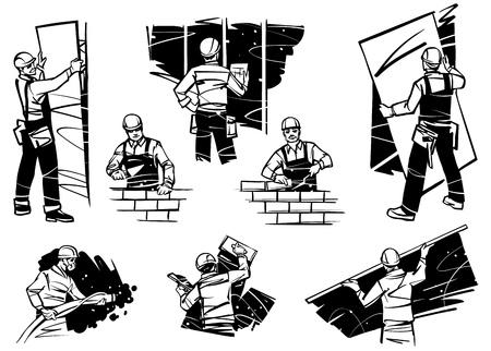 Pracownicy w domu pracują przy ścianach. Układanie cegieł, tynkowanie ścian i układanie płyt kartonowo-gipsowych.