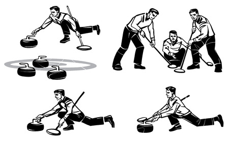 Set of illustrations of men's Curling. Hand drawn illustration.