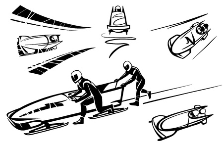 Bobsleigh and two athletes in perspective Hand drawn illustration.