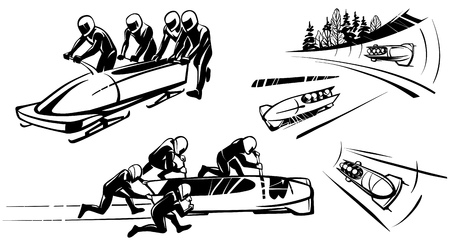 Bobsleigh and four athletes in perspective Hand drawn illustration. Illustration