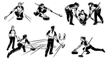 Set of illustrations of women's Curling on Hand drawn illustration.  イラスト・ベクター素材