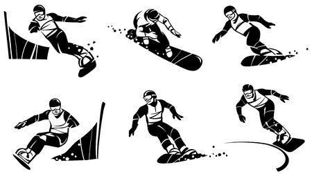 Six snowboarders compete in slalom. Hand drawn illustration.