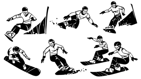 Six women snowboarders compete in slalom. Hand drawn illustration.