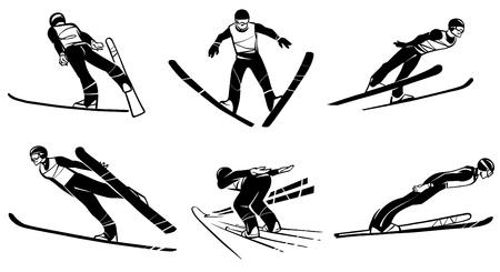 Set of athlete skiers hand drawn illustration.