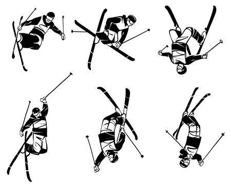 Freestyle skiing. Six skiers in flight. Hand drawn illustration.