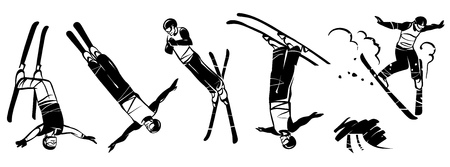 Freestyle skiing hand drawn illustration.