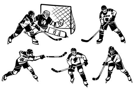 Ice hockey winter sport hand drawn illustration.