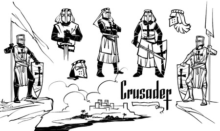 Knights of the Crusaders in various poses. Isolated art on white background. Hand drawn illustration.
