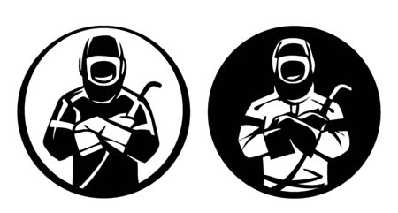 Front portrait of a welder. Two character logo