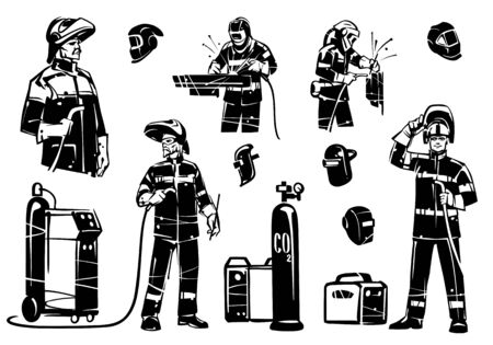 A group of illustrations of welders at work. Welding equipment: inverters, Transformers and Protective Mask