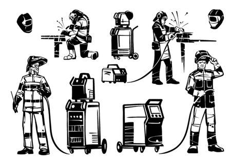 Eine Gruppe von Illustrationen von Schweißern bei der Arbeit. Schweißgeräte: Wechselrichter, Transformatoren und Schutzmasken