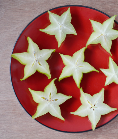 star fruit: Star fruit, Carambola slice on a plate