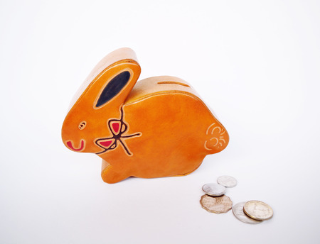 Vintage animal coin bank leather