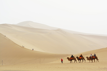 crescent lake: DUNHUANG, GANSU, CHINA- MARCH 11, 2016: Group of tourists are riding camels in the desert at Mingsha Mountain, Dunhuang, China. This is a famous place part of silk road in Dunhuang. Editorial