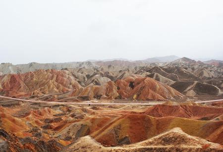 red mountain: Rainbow Mountain in Zhangye Danxia National Geopark, Gansu Province, China
