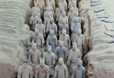 qin: XIAN, CHINA – MARCH 13, 2016: Detail of Terracotta wariors statue in Xian, China. The statue army, discovered in 1974 and made for protect the first Qin Emperor.