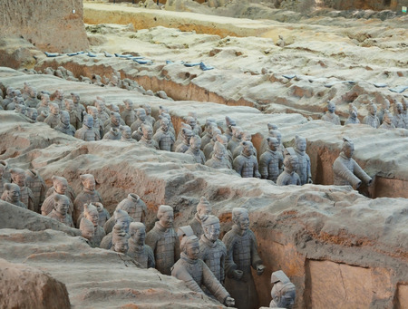 discovered: XIAN, CHINA – MARCH 13, 2016: Detail of Terracotta wariors statue in Xian, China. The statue army, discovered in 1974 and made for protect the first Qin Emperor.