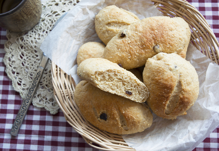 whole wheat bread: Home made whole wheat bread with raisins, Top view Stock Photo