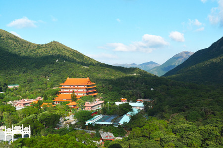 hong kong island: Beautiful view of Po Lin Monastery in Nong Ping 360 in Hong kong Island Stock Photo