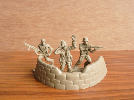 plastic soldier: Collection of vintage plastic soldier toys Stock Photo