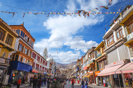 Main bazar street in Leh city, Ladakh India. This is the local market and famous place for tourist to visit in Leh, Ladakh India.