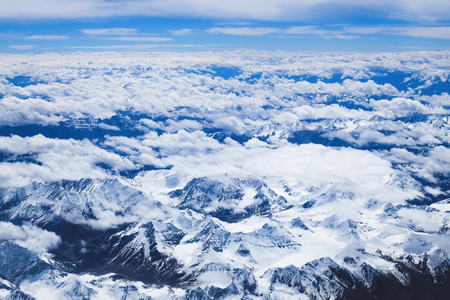 Himalaya mountains landscape from above , view from airplane flying in high altitude Leh Ladakh, India.
