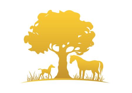 Jument, poulain et arbre Vecteurs