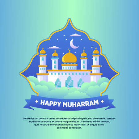 Flat design of mosque for islamic new year / Muharram concept on Background Vector Vetores