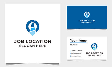 Job Logo Design Vector With Tie and Pin Map with business card