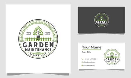 green garden logo design template and business card Ilustração