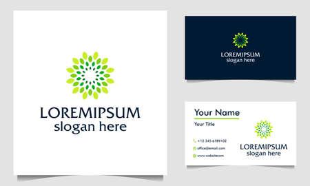 Circle Leaf green logo design vector