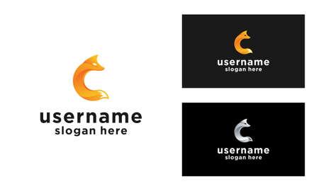 Modern Orange Fox Logo Design vector with Letter C Initial