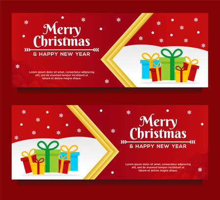 Merry Christmas and Happy New Year Banner template with Christmas tree and gift box with red background