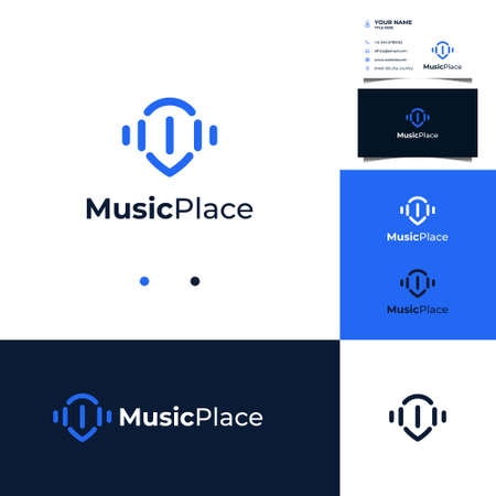 Wave music logo design with pin location concept and business card template Illusztráció