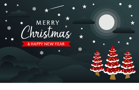 Merry Christmas and Happy New Year background Banner template with moon 向量圖像