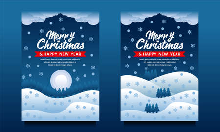 Merry Christmas and Happy New Year flyer, poster, Banner template with natural scenery at night 向量圖像