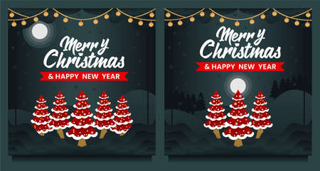 Merry Christmas and Happy New Year social media post, Banner template with Christmas tree 向量圖像