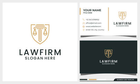 Law firm, attorney, pillar design with shield concept and line art style with business card template Vettoriali