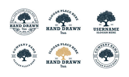 hand drawn shady tree abstract sign, symbol or design template Illusztráció