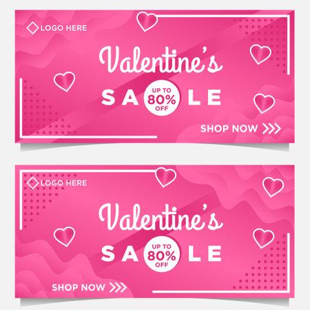 happy Valentine day banner template with pink background Ilustración de vector