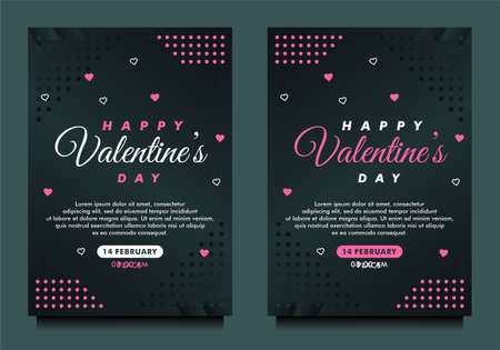 happy Valentine's day banner, flayer, greeting card template with dark background