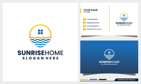 sunset, sunrise with home or house logo design concept and business card template