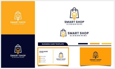 Shop bag with smart light bulb symbol logo design concept and business card template
