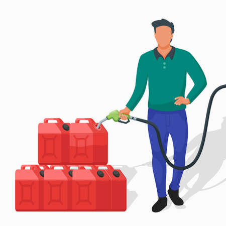 Man Hoarding Petrol Using Red Jerry Cans at Gas Station Flat Vector Illustration.