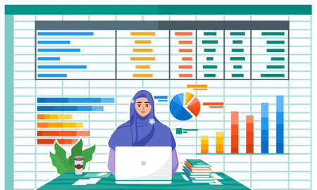 Female Accountant Work with Accounting Paperwork Program on Laptop Screen in Office.