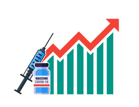 Vaccine Price Value Demand Stock Market Rise Increase Up Skyrocket Statistic Report with Graph Chart Diagram Illustration Vector. Vecteurs