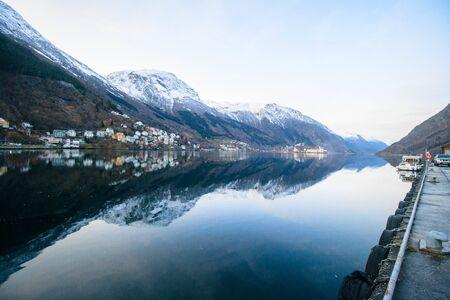 norway fjord winter city