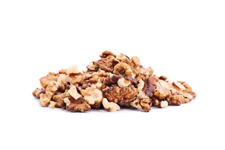 nutritive: Heap of walnuts isolated on white background