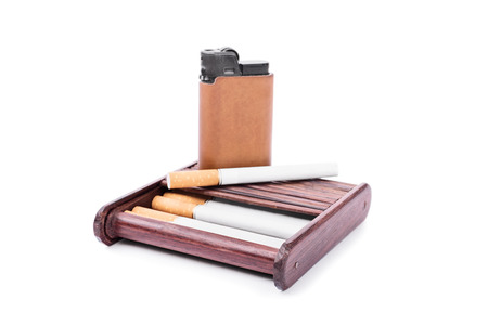 habbit: Cigarette case with a lighter isolated on white background