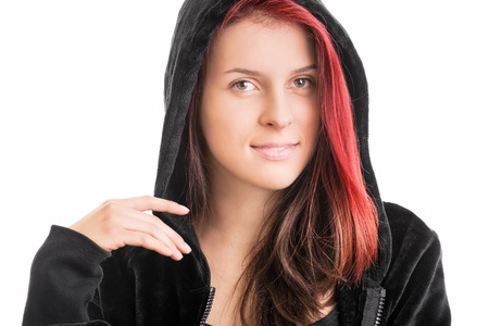 hooded sweatshirt: Portrait of a young girl in hooded sweatshirt isolated on white background